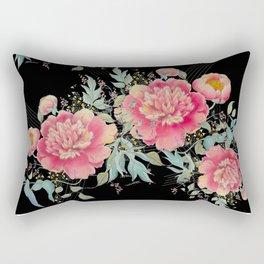 Gipsy paeonia in black Rectangular Pillow