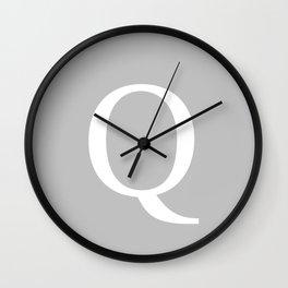 Silver Gray Basic Monogram Q Wall Clock