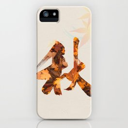 Autumn color with red leaves in Japanese calligraphy collage iPhone Case