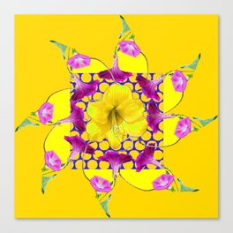 YELLOW ABSTRACT  GEOMETRIC PURPLE FLORALS Canvas Print