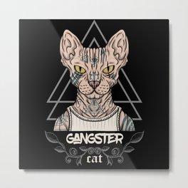 Tattooed Gangster Sphynx Cat Metal Print