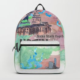 Austin Texas Favorite Map with touristic Top Ten Highlights in Colorful Retro Style Backpack