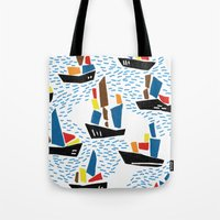 boats Tote Bags featuring boats by frameless