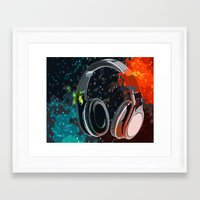 headphones Framed Art Prints featuring Headphones by Gift Of Signs