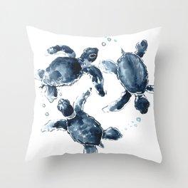 Turtle Swimming Sea Turtles indigo blue turtle art Throw Pillow