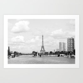 Paris City | Eiffel Tower | River Seine | France | Europe | Travel Photography | Landscape | Black and White | Art Print Art Print