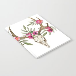 Bohemian deer skull and antlers with flowers Notebook
