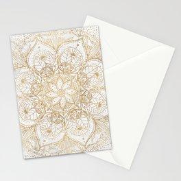 Trendy Gold Floral Mandala Marble Design Stationery Cards