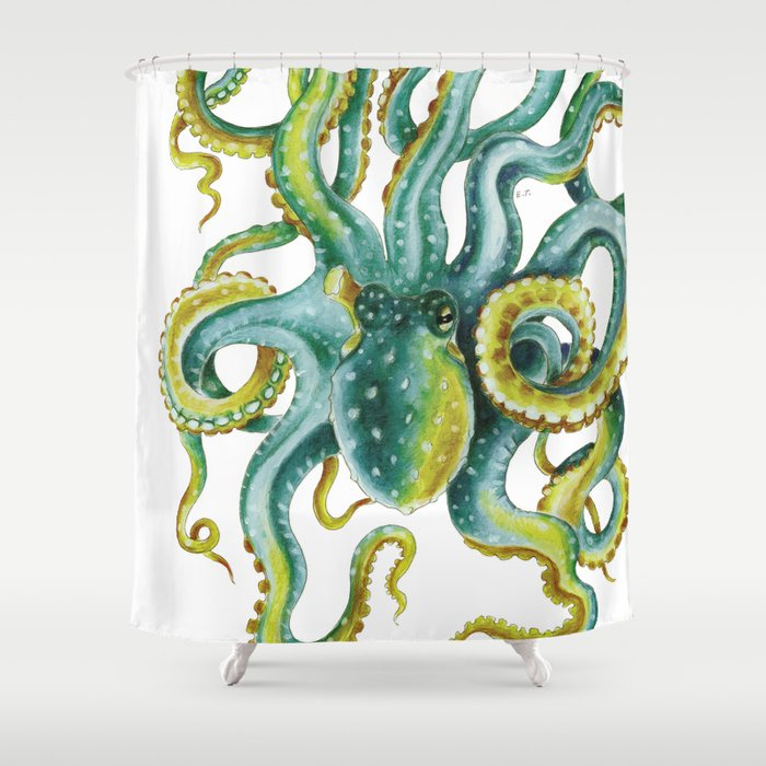 Octopus Tentacles Green Watercolor Art Shower Curtain