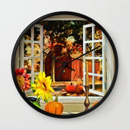 Autumn Harvest Painting by Liane Wright Wall Clock
