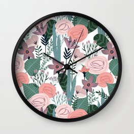 Lovely Midcentury Vintage Wild Rose Pattern Wall Clock