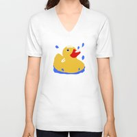 duck V-neck T-shirts featuring Duck by Blueshift