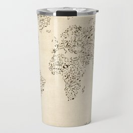 Music Notes Map of the World Travel Mug