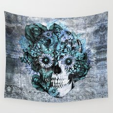 Blue grunge ohm skull Wall Tapestry