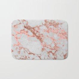 Stylish white marble rose gold glitter texture image Bath Mat