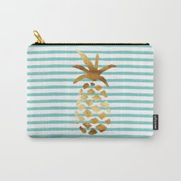 Pineapple & Stripes - Mint/White/Gold Carry-All Pouch