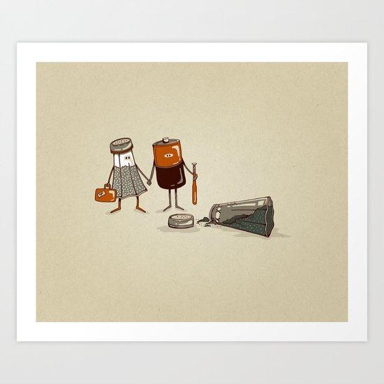 Assault and Battery Love Story. Art Print