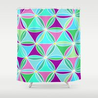quilt Shower Curtains featuring june quilt by Ariadne