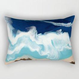 Tsambou, Samos beach, Greece, Resin abstract painting, Seascape art Rectangular Pillow