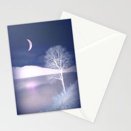 Moon night on the lake Stationery Cards