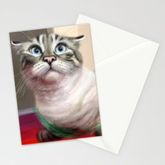 Cat Surprised Funny Animals with Feather Siamese Lynx-Point Stationery Cards