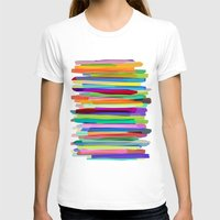 summer T-shirts featuring Colorful Stripes 1 by Mareike Böhmer