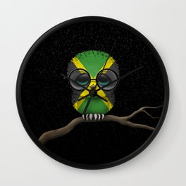 Baby Owl with Glasses and Jamaican Flag Wall Clock