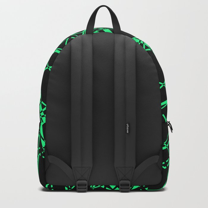 Abstract black and green pattern .Line . Backpack