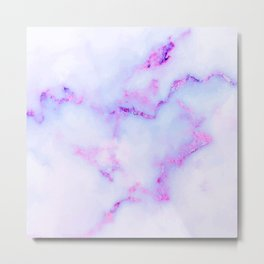 White and purple faux marble stone texture Metal Print