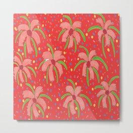 Red Tropical Fiesta Floral Print Metal Print