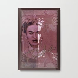 Frida Kahlo - between worlds - red Metal Print