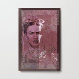 Frida Kahlo - between worlds - red Metal Print