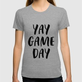 Yay Game Day Football Sports Black T-shirt
