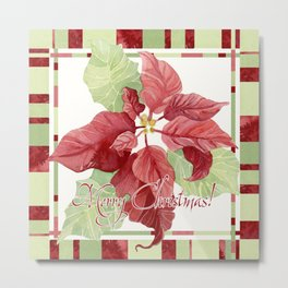 Modern Striped Poinsettia Christmas Floral Holiday Winter Metal Print