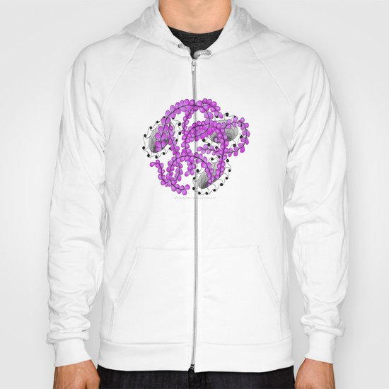 Zentangle Spring Fuchia Flower Illustration  Hoody