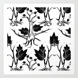 Pattern tree black Art Print