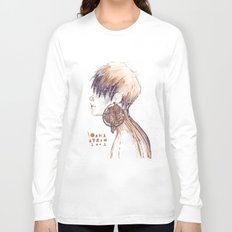 Fashion illustration profile portrait gold black white markers and watercolors Long Sleeve T-shirt