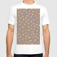 Rose gold polka dots - mocha golden White Mens Fitted Tee MEDIUM