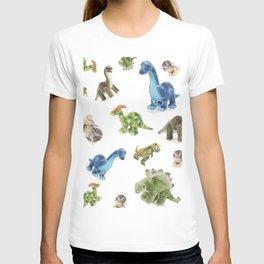 Dinosaur Blue Gree Brown Pattern T-shirt