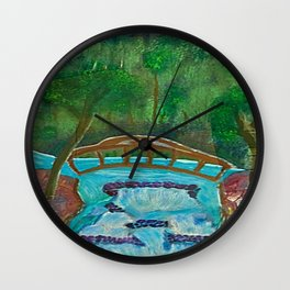 Bridge Over Waterfall Wall Clock