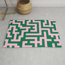Cotton Candy Pink and Cadmium Green Labyrinth Rug
