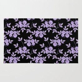 Retro . purple flowers on a black background . Rug
