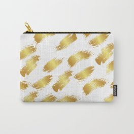 Abstract white faux gold artistic paint brushstrokes pattern Carry-All Pouch