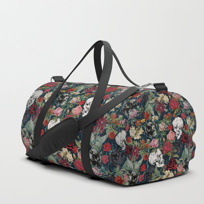 Distressed Floral with Skulls Pattern Duffle Bag