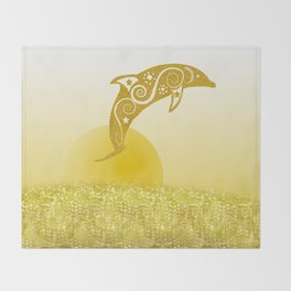 Gold Dolphin Throw Blanket