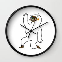 eat Wall Clocks featuring Eat Eat Eat by Jarvis Glasses