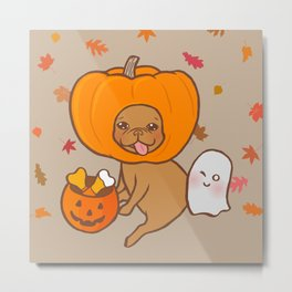 Frenchie in costume for Halloween party Metal Print