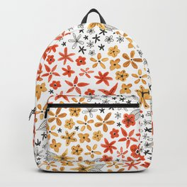 tiny tiny red gold and black flowers Backpack
