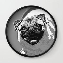 hungry pug dog vector art black white Wall Clock