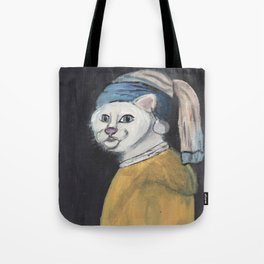 cat with a pearl earring Tote Bag